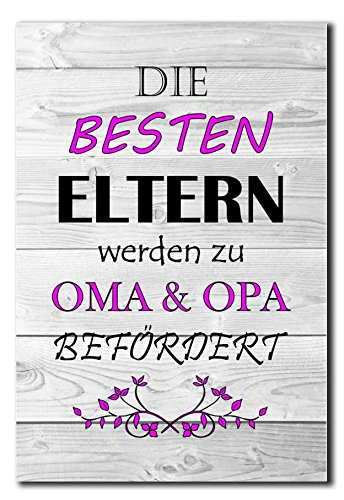 Hochwertiges Metallschild 30 x 20 cm aus Alu Verbund Die besten Eltern werden zu Oma & Opa befördert Deko Schild…