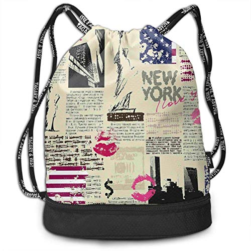 MSGDF Newspaper with Statue of Liberty Partying Drawstring Bag Backpack Bundle Backpack -