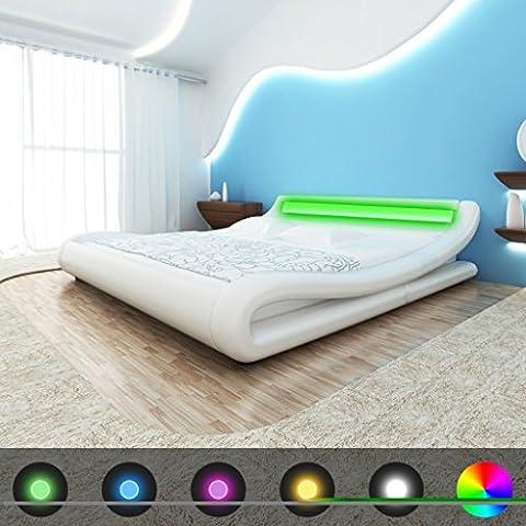 vidaXL cama piel sintética curvado LED 140x 200cm blanco con colchón