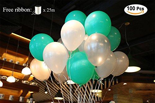 PuTwo Luftballons 12 Zoll 100 Stück Ballons Helium Luftballons Latex Ballon Partydeko für Taufe, Geburtstag, Baby Shower, Hochzeit - Blau&Weiß/ Weiss, Türkis&Weiß/ Weiss, mit kostenlosen Seidenband