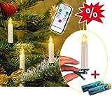 LED-Christbaumkerzen Weihnachtskerzen, kabellos, mit Fernbedienung: 20 STÜCK, inklusive 20 AA-Batterien