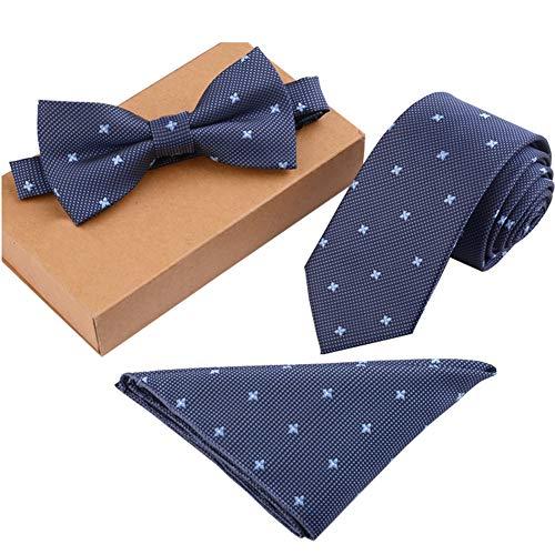 Chinashow Modische Premium Formale/informellen Krawatten Set, Krawatte/Fliege/Einstecktuch für Herren/Jungen, Blaues Blumen