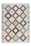 One Couture Flachflor Teppich Modern Fransenteppich Rautenmuster Azteken MusterTeppich Multi, Größe:160cm x 230cm