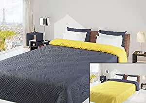 220x240 grau gelb Tagesdecke Bettüberwurf Steppbettüberwurf Steppung zweiseitig grey yellow Welle