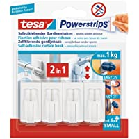 tesa UK Powerstrips Net Curtain Hooks with Removable Adhesive Strips - White, 4 Hooks