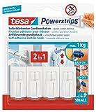 tesa Powerstrips Vario-Gardinenhaken / Selbstklebende Gardinenhaken von tesa - wieder ablösbar und mehrfach verwendbar / Bis 1 kg Belastung / 1 x 4 Stück -