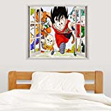 Adhesivo de pared efecto 3D Dragon Ball Z Kid Goku y Amigos, ventana, casa, habitación de un niño, decoración, arte adhesivo extraíble, vinilo, 52x 45cm