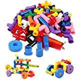 TEMSON Colorful Creative Educational Construction Plastic Water Pipe Shaped Building Blocks Toy