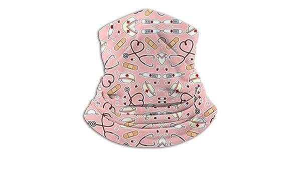 Microfiber Neck Warmer Cute Nurse Love Pink Neck Gaiter Tube Ear Warmer Headband Scarf Face Mask Balaclava