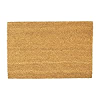 Nicola Spring Non-Slip Natural Coir Door Mat - 40 x 60cm - Plain - PVC Backed Welcome Mats Doormats