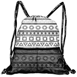 TKMSH Drawstring Backpacks Bags,Native American Aztec Ethnic Borders Traditional Sun Triangles Squares,5 Liter Capacity,Adjustable
