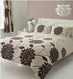 Sophia Modern Floral Cream Beige Brown Single Duvet Cover Set + Pillowcase Bedding by Linenstowels2011
