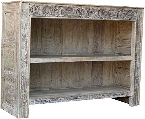 Guru-Shop Sideboard mit Beschnitzter Front im Chabby Chic Look, Teakholz, 94x125x43 cm, Kommoden & Sideboards
