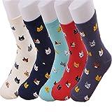 EDOTON Cartoon Socken Pack für Damen Mädchen Bunt Socken Bequeme Socke 5-6 Paar (5 Paar-Katze)