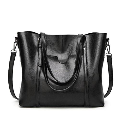Mode Handtaschen Big Bags Retro Wild Schulter Kurierbeutel Einfach Öl Wachs Haut Hand Tasche Elegant Parteibeutel Beutel Eimer Black