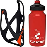Cube HPP Cage - Matt Black/Red & Icon Bottle - Red, 750ml / Discount Combination Combo Pair Kit Set Hydration Hydrate Drinking Drink Water Liquid Fruit Juice Bidon Vessel Flask Canteen Holder Mount Bracket Bicycle Cycling Cycle Biking Bike Mountain MTB Roadie Road Riding Ride Racing Race Part Accessories Lightweight Light Plastic Sport Outdoor Exercise Gym Spinning Spin Electric Teamline Blackline Class Running Run Pro Aero Peloton Team Storage Store Container 0.75L Litre