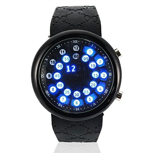 Filfeel Armbanduhr für Männer, Uhr, elektronisches Uhr, wasserdicht, LED Armband aus Silikon, digital, 10 m, Coquille noire