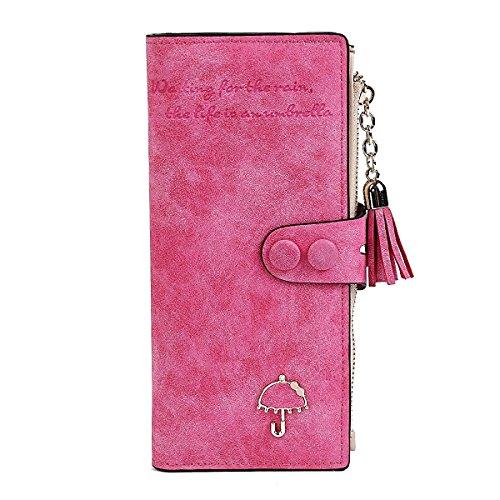 Qinlee Frau Brieftasche Lange Wallet Geldbörse Nubukleder Leder Zip Button Multi-Card Aufbewahrungs Handtasche mit Quaste (Rosa) - Button Zip Wallet