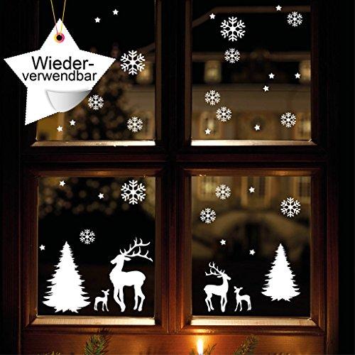 """Fensteraufkleber """"Winterwald"""" WIEDERVERWENDBAR mit Rentieren, Schneeflocken und Sternen - 56 Aufkleber im Set / konturgeschnitten / Fensterbild Wintermotiv / Adventsdekoration"""