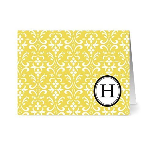 Modern Floral Damask 'H' Sunshine Monogram - 24 Cards for 7.49 - Blank Cards w/ Grey Envelopes Included by Note Card Cafe