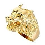 XNCBM Anillo Pista de la joyería de Acero Inoxidable para Hombre Lobo de la Vendimia del Hombre Lobo del Motorista Banda Negro, Plata, Oro