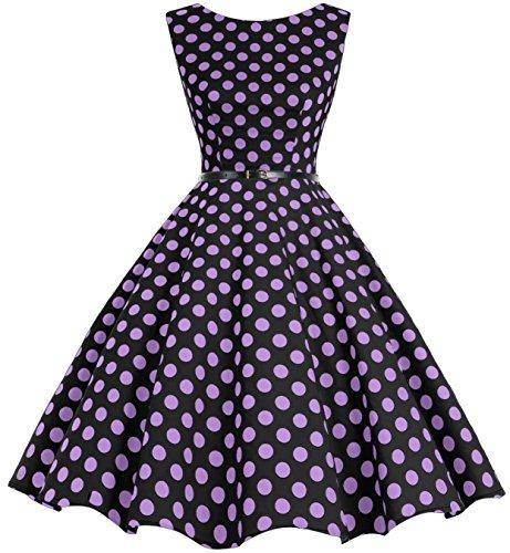 bbonlinedress 50s Retro Schwingen Vintage Rockabilly Kleid Faltenrock Black Purple Big Dot XS