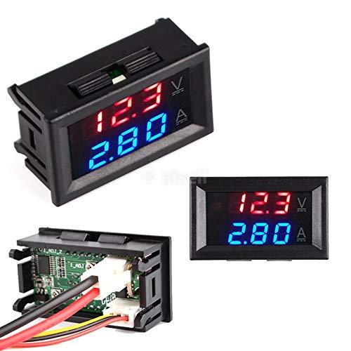 calistouk DC 0-100V 10A LED rojo azul Dual pantalla voltaje Digital Amperímetro para uso doméstico rojo + azul & 10A