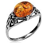 Noda anillo de plata con ámbar Diente talla 19