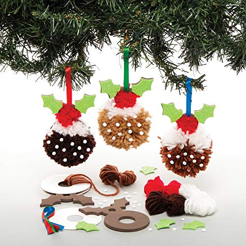 Baker Ross AT207 Weihnachtskugeln Pompon Weihnachtspudding (3 Stück) -Bastelset Kinder zu Weihnachten, Sortiert