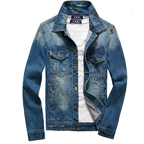 Partiss Vintage Jeans Slim Jacket Veste homme Bleu - Noir foncé