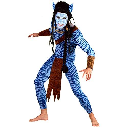 Kostüm blauer Krieger Gr. XL Waldwesen Alien Waldmensch (Navi Kostüme)