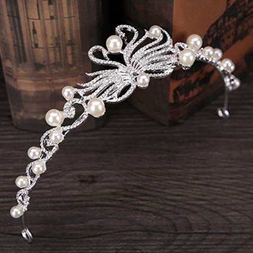 Simsly Schwan Hochzeit Krone und Tiara Queen Strass Stirnband für Damen und Mädchen (Silber) -