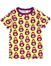MAXOMORRA Mädchen T-Shirt Kurzarm Gelb Babushka BioBaumwolle GOTS