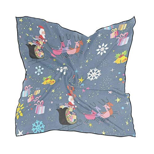 Pizeok Santa Flying On Christmas Women's Bandana Small Square Neck Scarf Silk Scarfs/Headband/Scarves Favor Design13