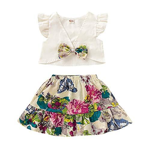 LEXUPE Infant Baby Kid Girl ethnischen Stil Bowknot Tops + Blumendruck Rock Outfits Set(Weiß,90)