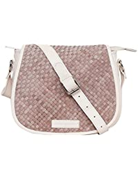 Justanned women Leather Woven ivory crossbody Bag