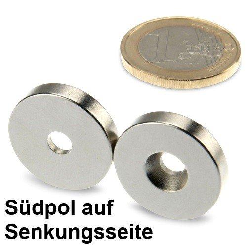 Ringmagnet Ø 20,0 x 4,5 x 4,0 mm N42 Nickel mit Senkung aus Neodym, Südpol auf der Senkungsseite, zum Anschrauben, schraubbar - Halter 4-münze
