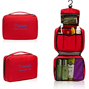 51g VM%2B5UFL. SS300  - Tinksky Waterproof Hanging Wash Bag Toiletry Bag Travel Cosmetic Bag Pouch Organizer (Red)
