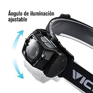 VicTsing Linterna frontal LED, Con Sensor de Distancia con Luces Rojas, IPX6 Impermeable, 6 Modos de Luz ( Alto, Medio, Bajo, SOS, luz roja: resaltar ) Con Una 780mAh Batería recargable.