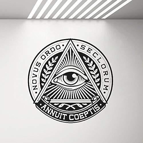 mmzki Alles sehende Auge Vinyl Aufkleber Pyramide Auge Wandtattoo Illuminati Zeichen Decals Wand Vinyl Home Decor Wohnzimmer Schlafzimmer Wandbild G 57 x 57 c -