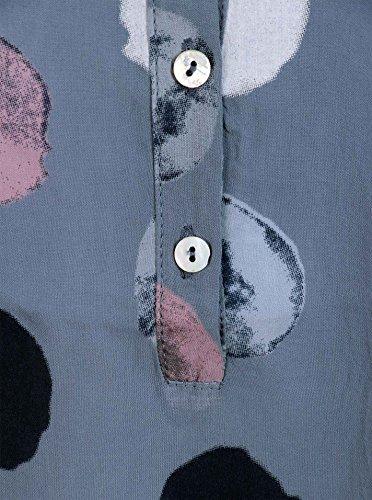 Zwillingsherz Bluse mit Punkt Muster - Hochwertiges Oberteil für Damen Mädchen - Langarmshirt Top - T-Shirt - Pullover - Sweatshirt - Hemd für Sommer Herbst und Winter von Cashmere Dreams Jeansblau