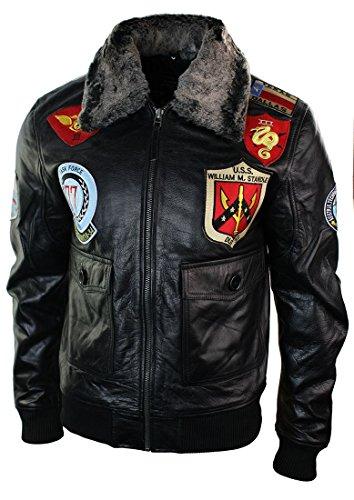 Herren Lederjacke Bomber US Schwarz Militär Aviator Jacke Fellkragen Logo Us-bomber