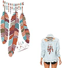 TOTAL HOME Necklace Pendent Flowers Feather Patches for T-shirt Dresses Sweater Parches Iron on Patches A-level Washable Stickers Printing(Pack Of 1)