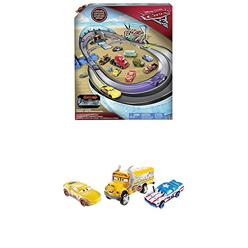 Mattel Disney Cars 3 FCW02 - Ultimative Florida Rennstrecke + FBP88 - Die-Cast 3er-Pack 2 x 1:55, 1 x Oversized Fahrzeuge