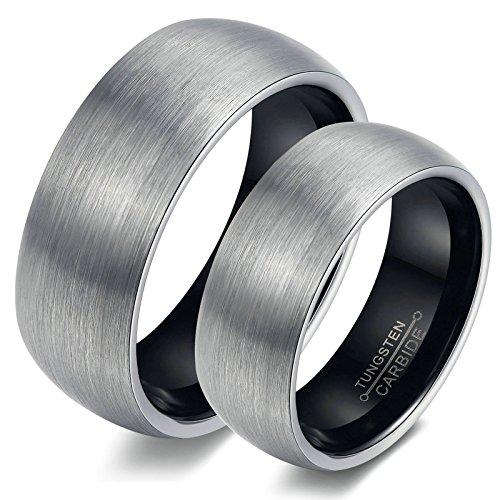Amody 1 coppia di acciaio al tungsteno a cupola spazzolato anello di fidanzamento banda donne 12 & uomini 17