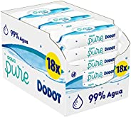 Dodot Aqua Pure - Toallitas Bebé con 99% Agua, 18 Paquetes, 864 Toallitas