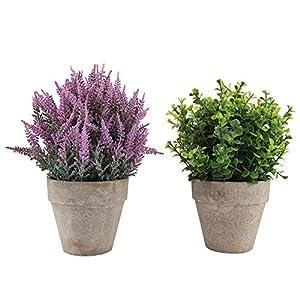 Duokon 2pcs Flores Artificiales Plantas Lavanda Falsa con Maceta para Decoraciones de baño de Hotel hogar