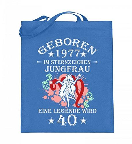 Hochwertiger Jutebeutel (mit langen Henkeln) - Sternzeichen Jungfrau wird 40 Blau