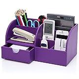 Cosanter Schreibtisch-Organisierer, Leder Desktop-Aufbewahrungsbox mit 7 Ablagefächern, für Büro 28 x 14,5 x 14,5 cm, Lila