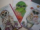 3er Set Eulen Grußkarten zum Thema Handarbeiten Stricken, Häkeln, Sticken und Nähen als Print Klappkarten